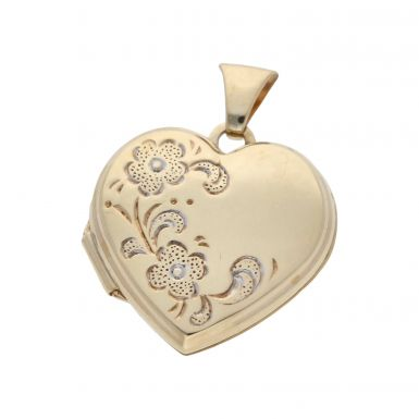 Pre-Owned 9ct Gold Part Patterned Heart Locket Pendant