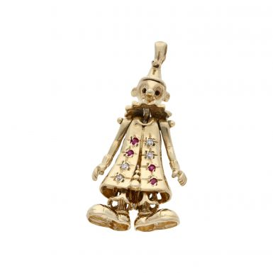 Pre-Owned 9ct Yellow Gold Gemstone Set Clown Pendant