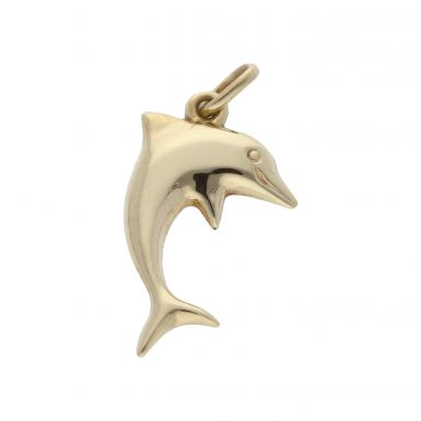 Pre-Owned 9ct Yellow Gold Hollow Dolphin Charm Pendant