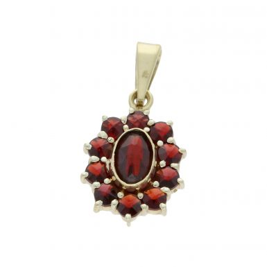 Pre-Owned 9ct Yellow Gold Garnet Cluster Pendant