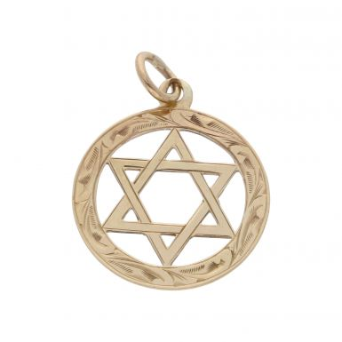 Pre-Owned 9ct Yellow Gold Patterned Edge Star Of David Pendant