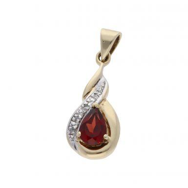 Pre-Owned 9ct Gold Garnet & Diamond Teardrop Pendant