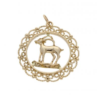 Pre-Owned 9ct Yellow Gold Aries Ram Horoscope Pendant