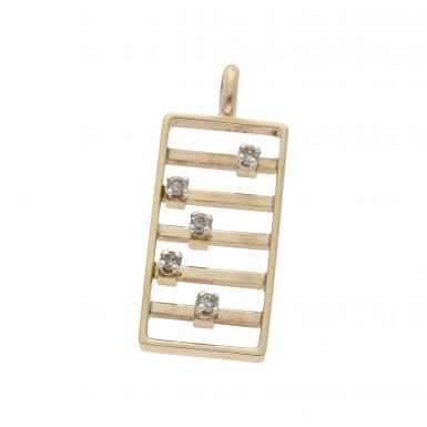Pre-Owned 9ct Yellow Gold Diamond Set Abacus Pendant