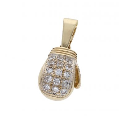 Pre-Owned 9ct Yellow Gold Cubic Zirconia Boxing Glove Pendant