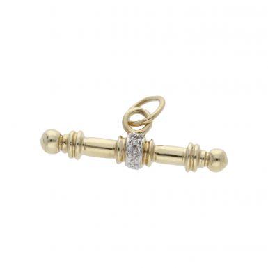 Pre-Owned 9ct Gold Diamond Set T-Bar Pendant