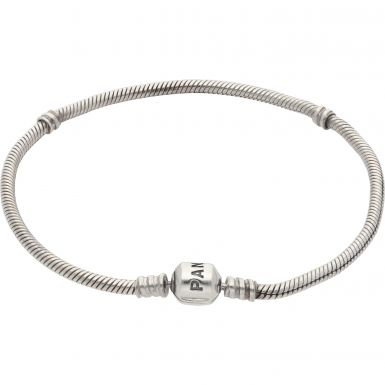 Pre-Owned Pandora Silver Barrel Clasp Snake Bracelet