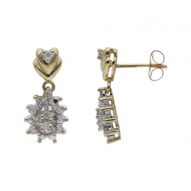 Pre-Owned 9ct Yellow Gold Diamond Cluster Drop Earrings