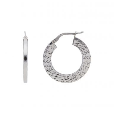 Pre-Owned 9ct White Gold Textured Hoop Creole Earrings