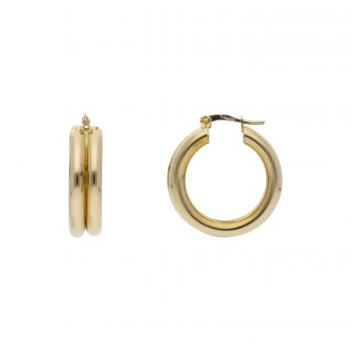 Pre-Owned 9ct Yellow Gold Double Row Hoop Creole Earrings