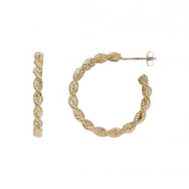Pre-Owned 9ct Yellow Gold Rope Style 3/4 Hoop Earrings