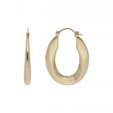 Pre-Owned 9ct Yellow Gold Wave Oval Creole Earrings