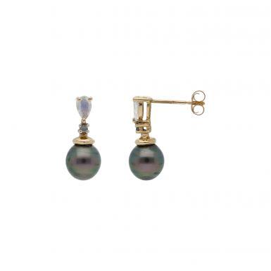 Pre-Owned 9ct Gold Cubic Zirconia & Pearl Drop Earrings
