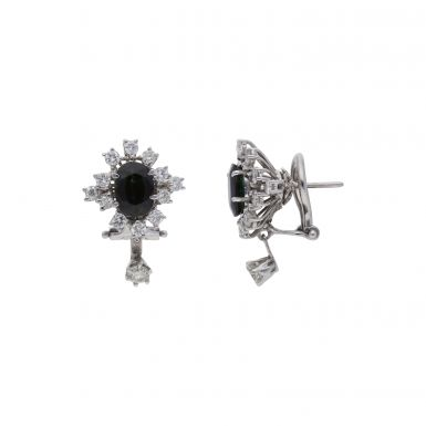 Pre-Owned 18ct White Gold Sapphire & Diamond Cluster Earrings