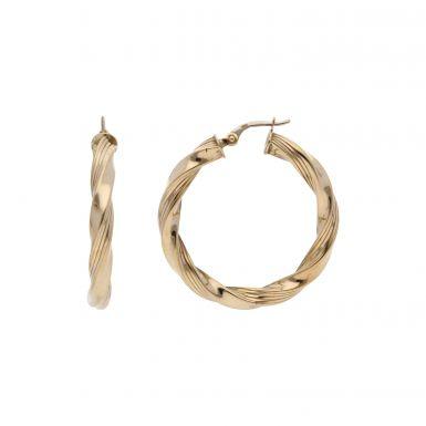 Pre-Owned 9ct Yellow Gold Twist Hoop Creole Earrings