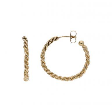 Pre-Owned 9ct Yellow Gold Twist 3/4 Hoop Earrings