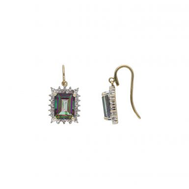 Pre-Owned 9ct Gold Mystic Topaz & Diamond Cluster Drop Earrings