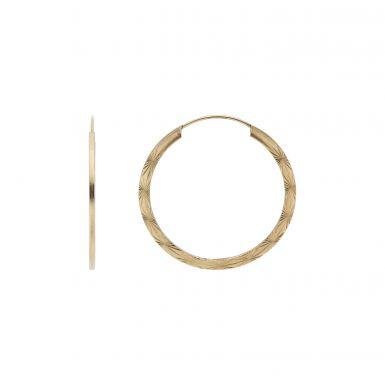 Pre-Owned 9ct Yellow Gold Patterned Sleeper Hoop Earrings