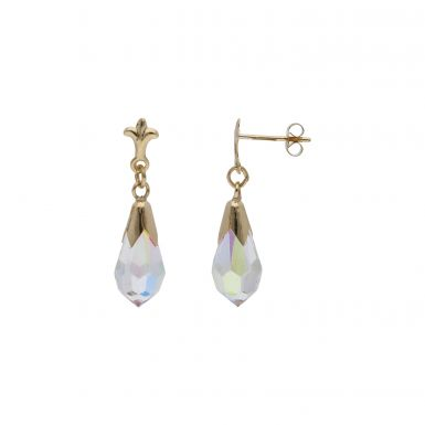 Pre-Owned 9ct Yellow Gold Crystal Drop Earrings