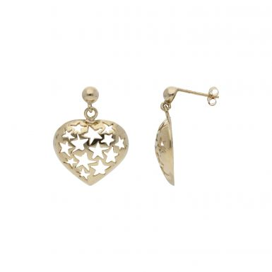 Pre-Owned 9ct Yellow Gold Cutout Star Heart Drop Earrings