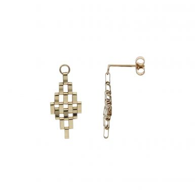Pre-Owned 9ct Yellow Gold Gate Link Drop Earrings