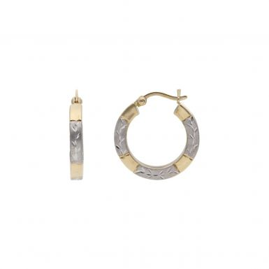 Pre-Owned 9ct Yellow & White Gold Patterned Hoop Creole Earrings