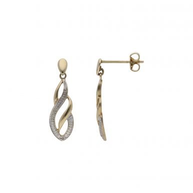 Pre-Owned 9ct Yellow Gold Diamond Set Wave Drop Earrings