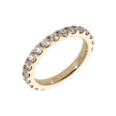 Pre-Owned 9ct Yellow Gold 1.00 Carat Diamond 3/4 Eternity Ring