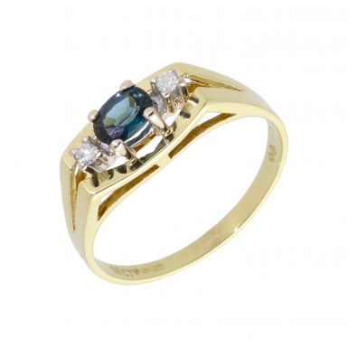 Pre-Owned 18ct Yellow Gold Topaz & Diamond 3 Stone Dress Ring