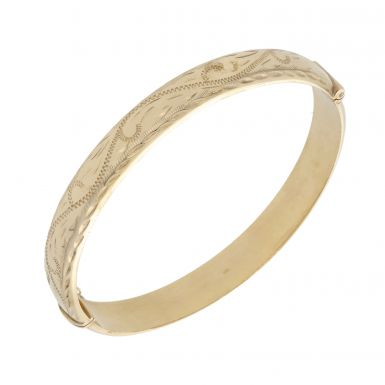 Pre-Owned 9ct Yellow Gold Half Patterned Hollow Hinged Bangle