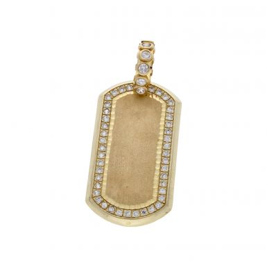 Pre-Owned 9ct Gold Cubic Zirconia Set Large Dog Tag Pendant