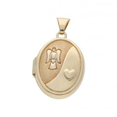 Pre-Owned 9ct Gold Oval Guardian Angel Locket Pendant