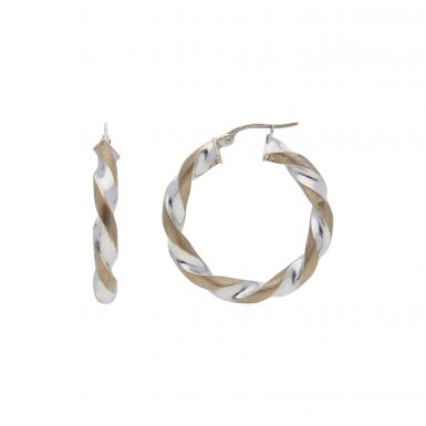Pre-Owned 9ct Yellow & White Gold Twist Hoop Creole Earrings