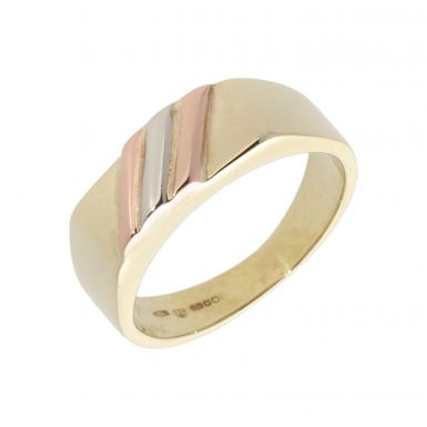 Pre-Owned 9ct Yellow Rose & White Gold Signet Ring