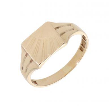 Pre-Owned 9ct Gold Sunburst Patterned Shoulder Signet Ring