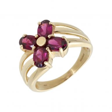 Pre-Owned 9ct Yellow Gold Garnet Flower Dress Ring