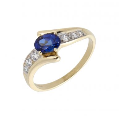 Pre-Owned 9ct Gold Simulated Sapphire & Cubic Zirconia Wave Ring