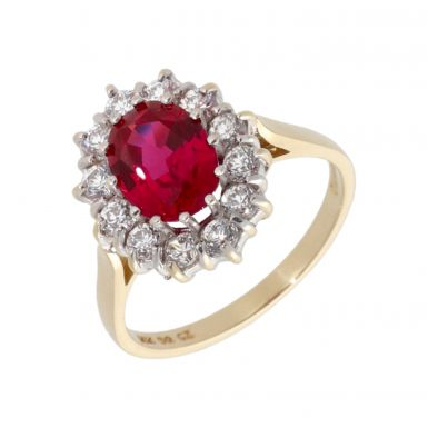 Pre-Owned 14ct Gold Red & White Cubic Zirconia Cluster Ring
