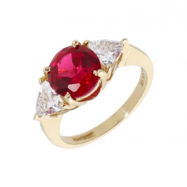 Pre-Owned 14ct Gold Red & White Cubic Zirconia Trilogy Ring