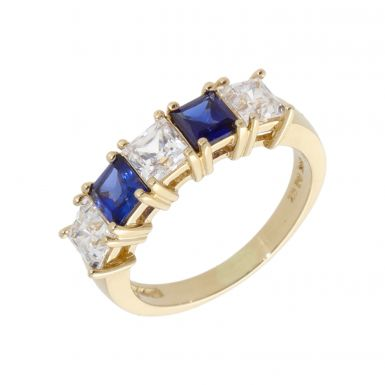 Pre-Owned 14ct Gold Blue & White Cubic Zirconia Dress Ring