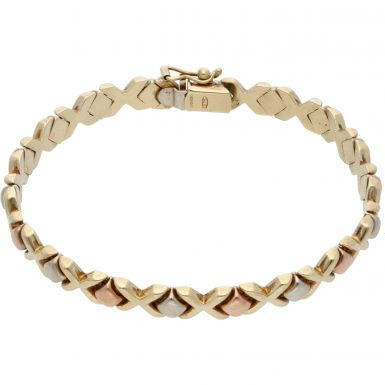 Pre-Owned 9ct Yellow Rose & White Gold Hollow Kiss Link Bracelet