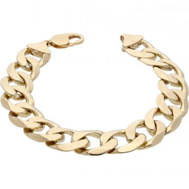 Pre-Owned 9ct Yellow Gold 9 Inch Heavy Curb Bracelet
