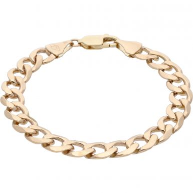 Pre-Owned 9ct Yellow Gold 7.6 Inch Curb Bracelet