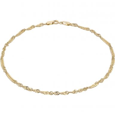Pre-Owned 9ct Yellow Gold 9.5 Inch Twist Link Anklet