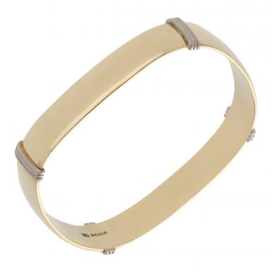 Pre-Owned 9ct Yellow & White Gold Ridged Push-On Bangle
