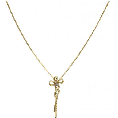 Pre-Owned 9ct Yellow Gold 16 Inch Diamond Set Flower Necklet