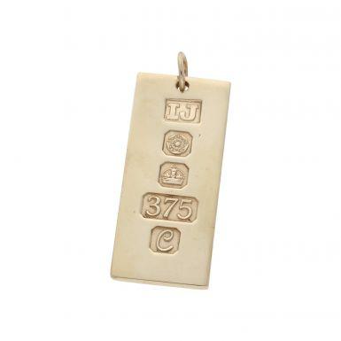 Pre-Owned 9ct Yellow Gold Ingot Bar Pendant