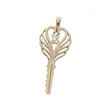 Pre-Owned 9ct Yellow Gold Age 18 Key Pendant