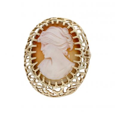 Pre-Owned 9ct Yellow Gold Oval Cameo Pendant Brooch