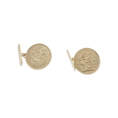 Pre-Owned 9ct Yellow Gold George & Dragon Coin Style Cufflinks